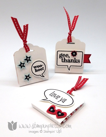 Stampin up scallop tags topper punch angled ghirardelli treat holder word bubble framelits die just sayin