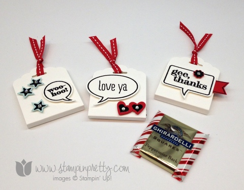 Stampin up scallop tag topper punch angled ghirardelli treat holder word bubbles framelits die just sayin