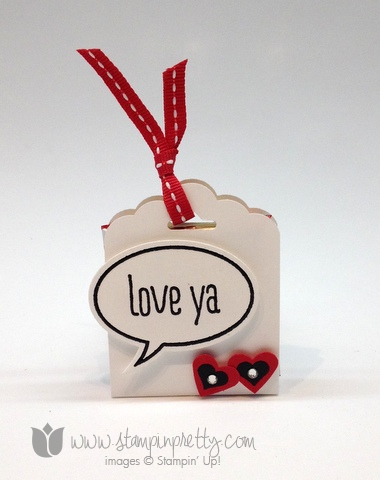 Stampin up scallop tag topper punch angled ghirardelli treat holder word bubble framelits die just sayin
