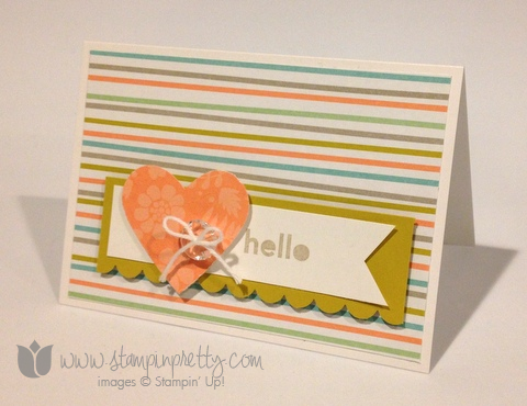 Stampin up stamp it pretty mary fish saleabration sweet sorbet thanks & hello handmade card idea