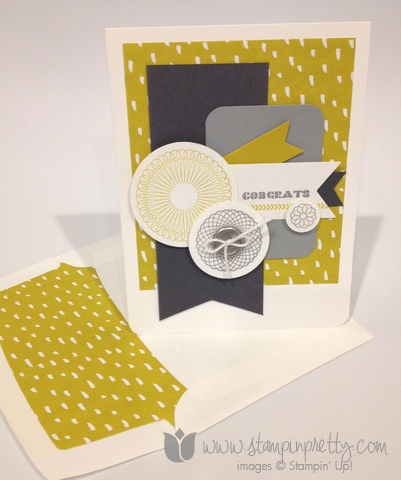 Stampin up stamp it pretty spiral spins handmade congrats congratulations card sweet sorbet envelopes framelits die