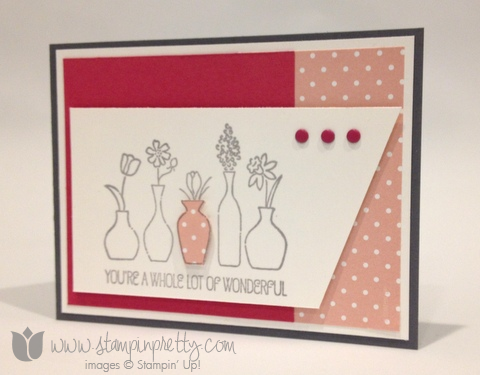 Stampin up stamp it pretty mary fish vivid vase handmade card idea free occasions catalogs