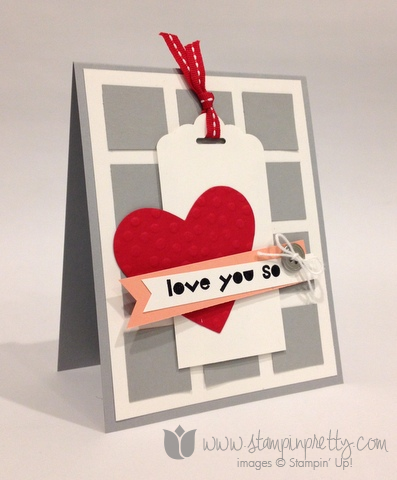 Stampin up stamp it pretty mary fish valentine day card idea geometric tag topper punch scalloped scallop
