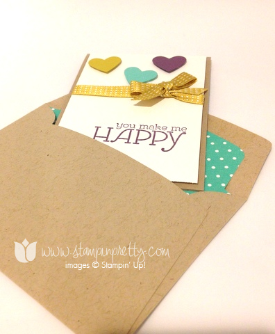 Stampin up stamp it pretty stamping happy watercolor heart framelits big shot machine die envelope liner order