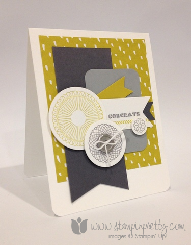 Stampin up stamp it pretty spiral spins handmade congrats congratulations card sweet sorbet envelope framelits dies