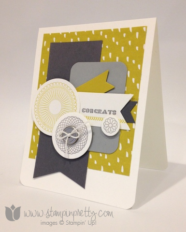 Stampin up stamp it pretty spiral spins handmade congrats congratulations card sweet sorbet envelope framelits die