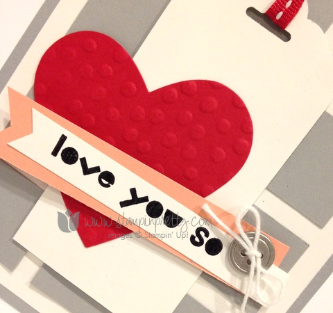 Stampin up stamp it pretty mary fish valentine day card idea geometric tags topper punch scalloped scallop