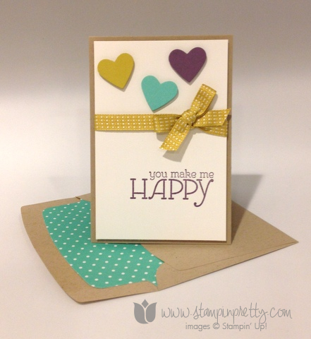 Stampin up stamp it pretty stamping happy watercolor heart framelits big shot machine dies envelope liner