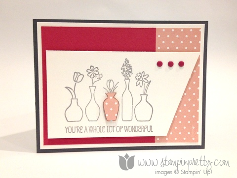 Stampin up stamp it pretty mary fish vivid vases handmade card idea free occasions catalogs