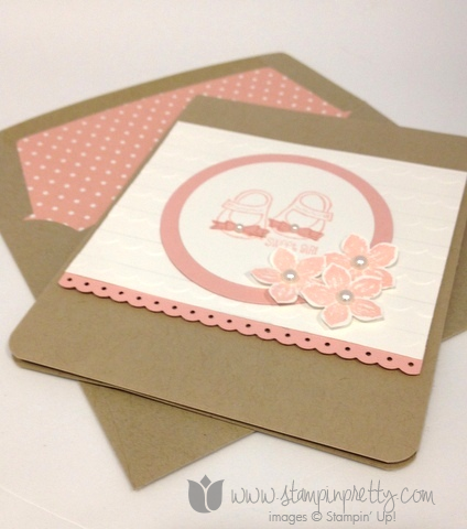 Stampin up stamp it pretty envelope liner framelits die big shot baby weve grown cards  mary fish punch