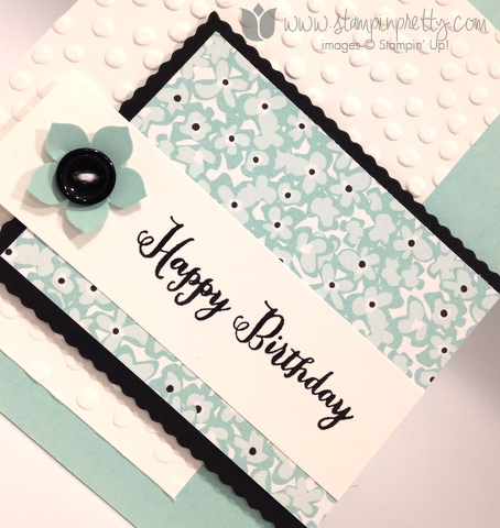 Stampin up stamp it pretty mary fish sweet sorbet remembering your birthday card idea decorative dot embossing folder