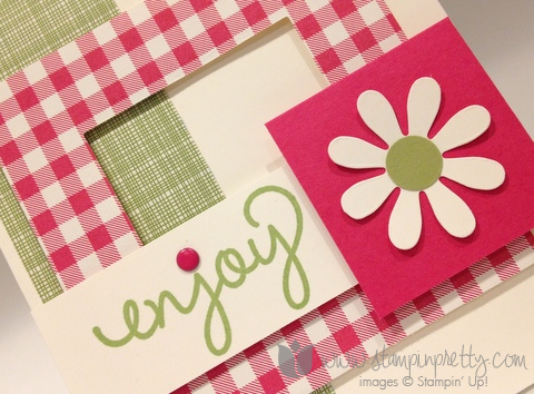 Stampin up stamping stamp it pretty mary fish mojo monday gingham garden simple celebrate card