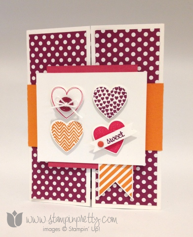 Stampin up stamping stamp it pretty hearts a flutter framelits dies fabulous phrases card idea fold gate heart blog