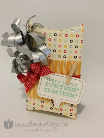 Stampin up stamping up blog demonstrator pillow box a little sumthin sumthin kit gift cards holder