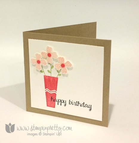 Stampin up stamping stamp it pretty pictogram punches punch happy birthday 3 x 3 cards blog