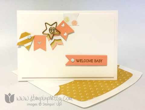 Stampin up stamping pretty demonstrator blog and many more stamp set banner punch baby card ideas