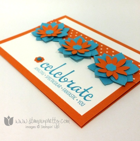 Stampin up stamping pretty demonstrator blog fabulous four stamps set card idea flower fair framelits die