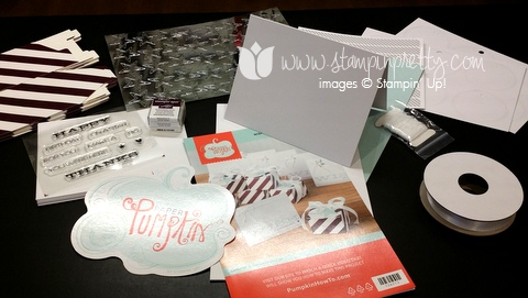 Stampin up stamping up demonstrator blog paper pumpkins thank for you card idea july 2014