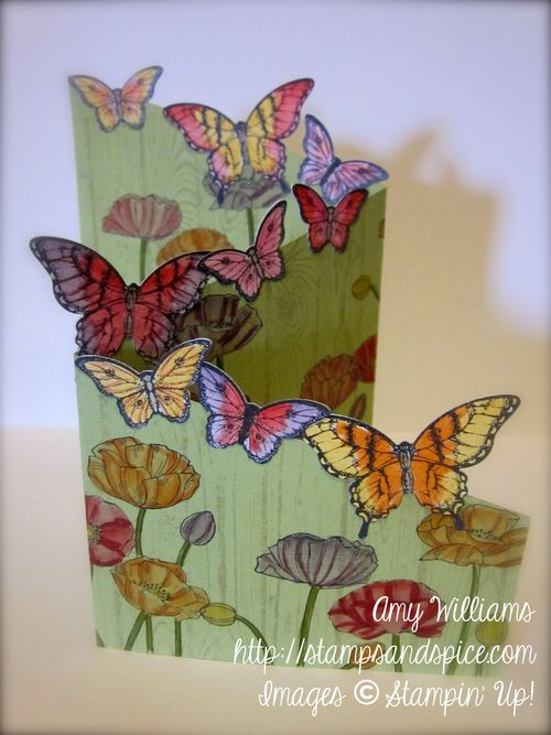 Stampin' up z-fold card, pleasant poppies, hardwood, handmade greeting card, tutorial