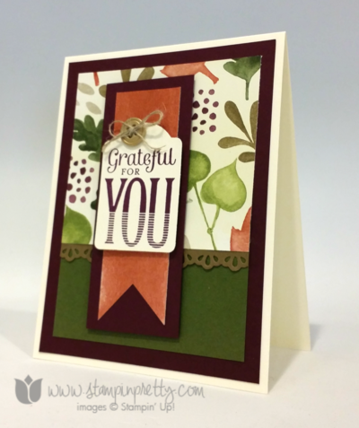 Stampin up stamping pretty demonstrator blog merry everything stamp note card punch fall autumn holiday card idea