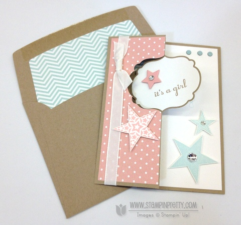 Stampin up stampinup stamp it pretty order thinlits labels card die baby card twins idea envelope liner