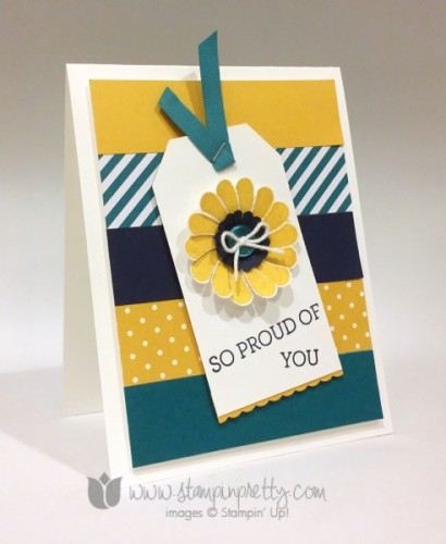 Stampin Up Crazy About You Angled Tag Topper Punch Circle Scallop Punch Dotted Scallop Ribbon Border Punch Congratulations Card Ideas Mary Fish Stampin Pretty Stampinup Demonstrator Blog