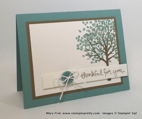 Stampin Up Sheltering Tree Thank You Card Ideas Mary Fish Stampin Pretty Stampinup Demonstrator Blog
