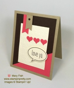 Stampin Word Bubble Framelits Dies Just Sayin' Happy Heart Embossing Folder Love & Friendship Card Ideas Mary Fish Stampin Pretty Stampinup Demonstrator Blog