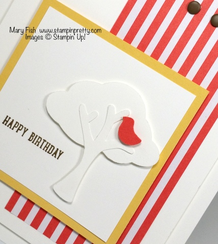 Stampin' Up! tree builder punch birthday card by Mary Fish Stampin' Pretty