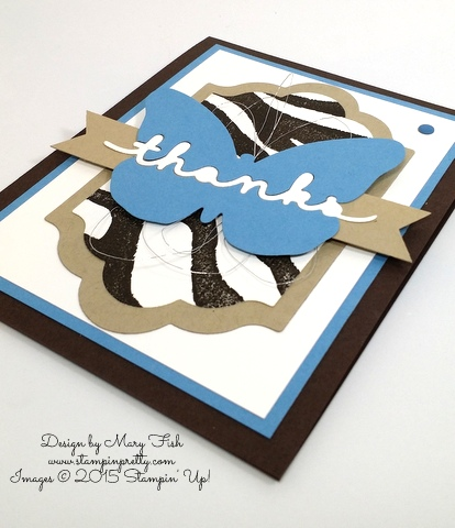 Stampin' Up! Greetings Thinlits It's Wild Thank You Card by Mary Fish Stampin Pretty Blog