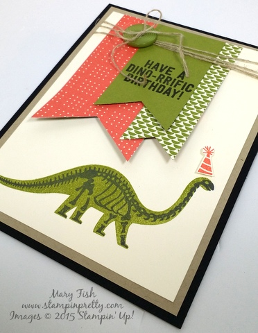 Dinosaur Stampin' Up! No Bones About It StampinUp stamp set by Mary Fish Stampin Pretty Stamping Blog flat
