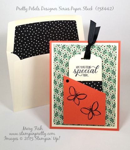 Stampin' Up! bookmark card Pretty Petals stamping Garden in Bloom by Mary Fish Stampin Pretty Blog envelope liner