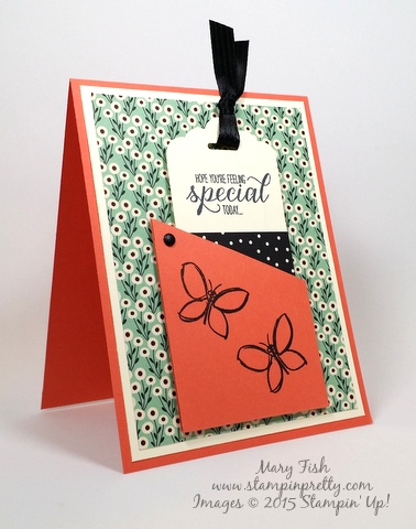 Stampin' Up! bookmark card Pretty Petals stamping Garden in Bloom by Mary Fish Stampin Pretty Blog