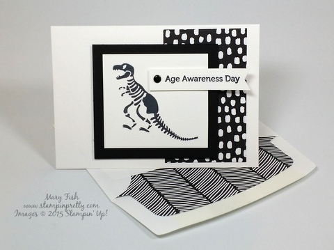 Stampin Up No Bones About It dinosaur birthday card mary fish stamping pretty