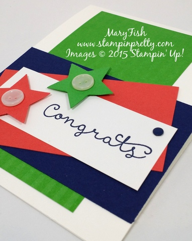 Stampin' Up! Cottage Greetings congrats congratulations card idea by Mary Fish Stampinup Demonstrator blog flat
