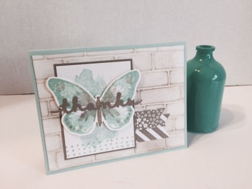 stampin up watercolor wings butterfly die brick embossing folder background