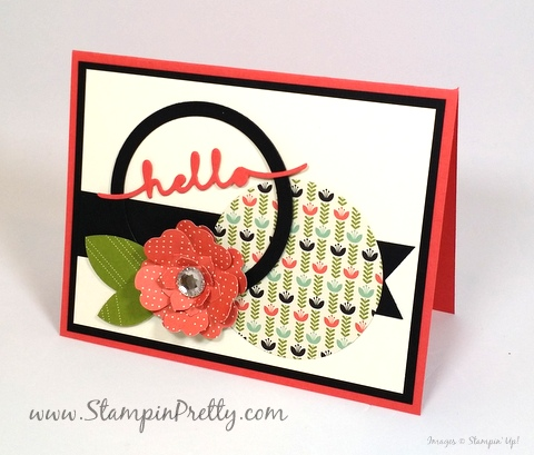 Stampin Up Mojo Monday hello friend card idea Mary Fish Stampin Pretty StampinUp