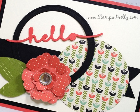Stampin Up Mojo Monday hello friend card ideas Mary Fish Stampin Pretty StampinUp Pansy Flower Punch