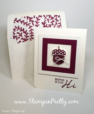 stampin up acorny thank you card acorn builder punch mary fish stampin pretty demonstrator blog envelope liner