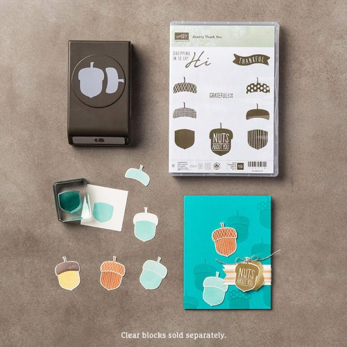 stampin up acorny thank you stamp set acorn builder punch