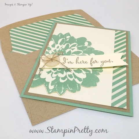 stampin up definitely dahlia sympathy card mary fish stamping pretty blog envelope liner