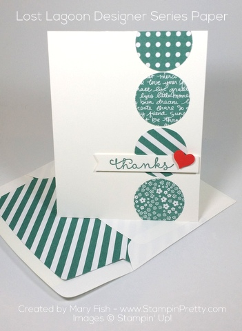 stampin up cottage greetings thank you card mary fish envelope liner