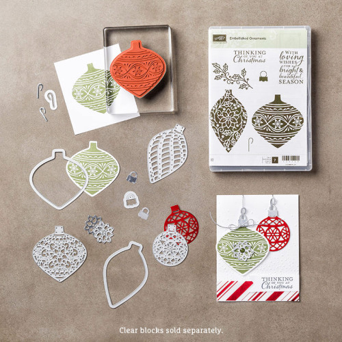 stampin up delicate ornament thinlits dies embellished ornaments stamp set