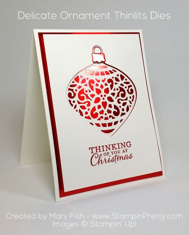 stampin up delicate ornament thinlits dies holiday card idea mary fish