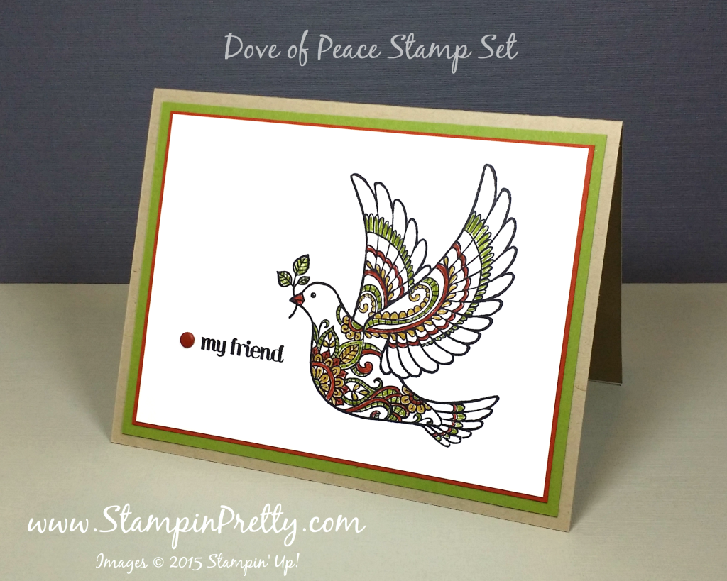 Dove of peace card for a friend stampin 39 pretty for Mary fish stampin up