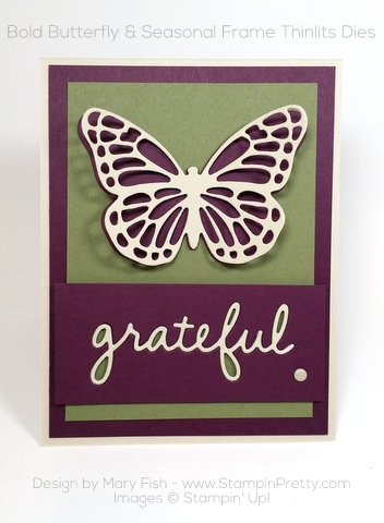 stampin up thank you card idea bold butterfly butterflies thinlits dies mary fish pinterest
