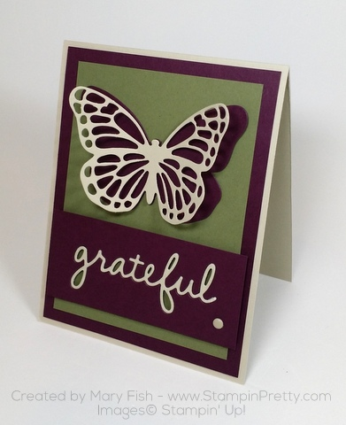 stampin up thank you card idea bold butterfly butterflies thinlits dies mary fish seasonal frame