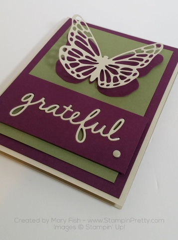 stampin up thank you card idea bold butterfly butterflies thinlits dies mary fish stamping