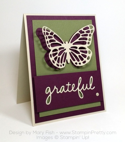stampin up thank you card idea bold butterfly butterflies thinlits dies mary fish