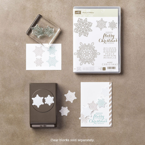 140868 Stampin Up Flurry of WishesSnow Flurry Punch Bundle